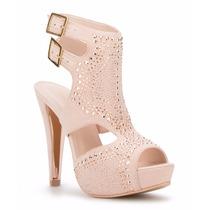 Elegantes Zapatillas Altas Andrea Rosas Pedrería Bling Bling