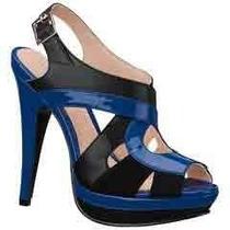 Sandalias Zapatillas Andrea Negro / Azul Rey De Piel No.24.5