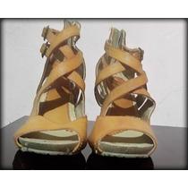 Zapatos De Tacon Corrido De Tiras Beige Cafe