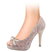 Zapatillas Dama Corte Textil Encaje 11cms 140810 Sn1
