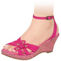 Sandalias Dama Corte Textil Lona 7cms 88085 Sn1