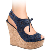 Sandalias Dama Corte Textil Crochet 13cms 141791 Sn1