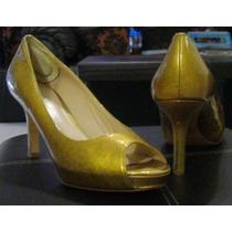 Zapatillas De Tacon Para Dama Color Dorado 24.5 Via Spiga