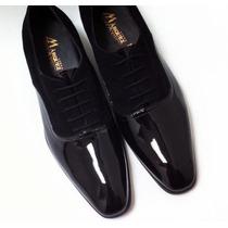 Zapatos Para Hombre De Vestir Charol C/ante Negro,100% Piel