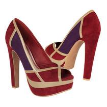 Divina Zapatos Dama Tacones Lu-22 Suede Rojo/morado