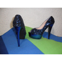 Zapatillas Brillosas Pu Blue Lobb, Envio Gratis.