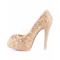 Zapato De Fiesta Para Dama Champange Con Pedreria 23