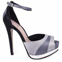 Elegantes Zapatillas Andrea Negras Con Plateado Y Pedrería