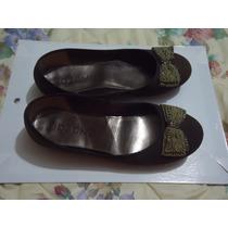 Zapatos Flats Cafes Con Moño Capa De Ozono 4 Mex P/dama
