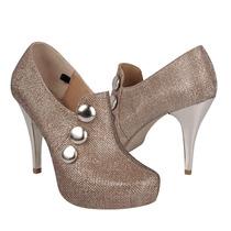 Stylo Zapatos Dama Tacones 185 Gliter Oro