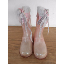 Botas De Lluvia De Hule Niñas Color Rosa Princesas #227