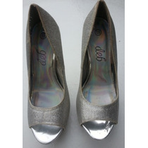 Zapatillas Brillantes Con Tacon Plateado ¡¡¡usadas!!!