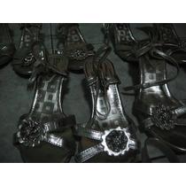 Zapatillas De Niña, Con Tacon, Pedreria Y Broche, Plata