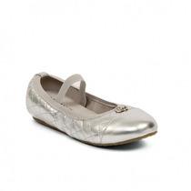 Michael Kors Mk Flats Ballerinas Zapatos Niña Plata Medallón