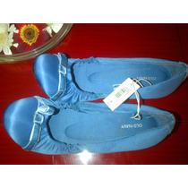 Hermosas Zapatillas Flat De Satin Azul