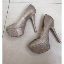 Zapato Noche Brillos Dorado 4.5 Importado Estil Madden Oro