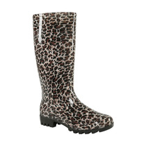 Botas Largas De Lluvia 3/4 Con Tacón 23 A 27 Leopardo Print