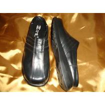 #27½ Zapatos De Piel Dama Tipo Sueco Negro Azul Marino Cynld