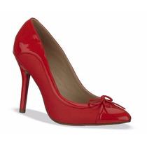 Elegantes Zapatillas Rojas De Charol Andrea Tacón Bajito
