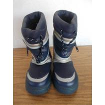 Botas Para Niños Frio Nieve Con Luz Al Caminar 19cm #a319