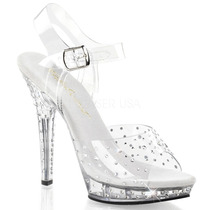 Zapatillas Transparentes C/ Correa Brillantes Sexy Lip-108rs