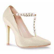 Elegantes Zapatillas Andrea Hueso Con Perlas Tacón Bajito