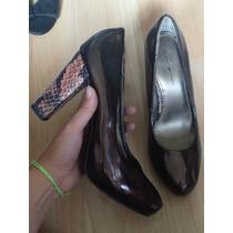 Zapatos Tacones Bandolino Piel Fina Charol Y Vibora 100% Ori