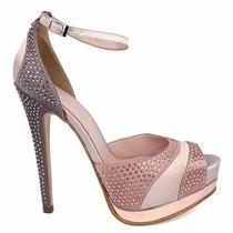 Elegantes Zapatillas Andrea Rosas Con Pedrería Tacón Alto