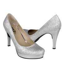Stylo Zapatos Dama Tacones 778 Glitter Plata
