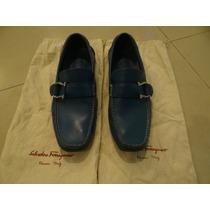 Zapatos Mocasines Salvatore Ferragamo Hombre Azules 6-1/2mx
