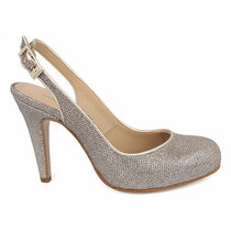 Elegantes Zapatos Zapatillas Andrea Doradas Oro Tacón Bajito