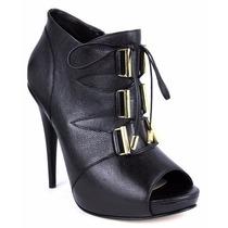 Zapatos Botines Abiertos Peep Toe Andrea Negros De Piel