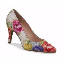 Zapatos Pump Andrea 2129143 Beige Flores Tacón Bajo 9cm