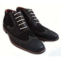 Zapato Mocasin Oxfords Bostoniano Wingtip Elegante Italiano