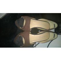 Sandalias Marrones Nro 24 De Terciopelo Altas Tacon Remate