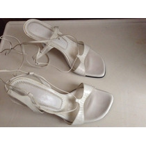 Sandalias De Piel Color Blanco Talla 25.5 Marca Andrea