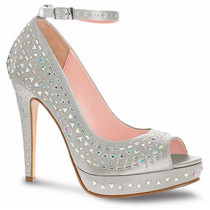 Elegantes Sandalias Zapatillas Zapatos Andrea Plateados