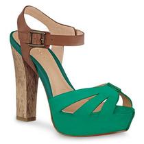 Zapatos Sandalias Verdes Andrea 1074963 Tacòn 13cm De Piel