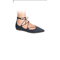 Zapatos Flats Picudos Con Tiras Atadas Azul Y Café