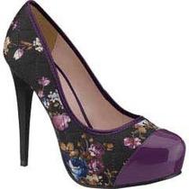 Zapatillas Andrea Moradas Con Flores Tacón De Aguja De 12cms