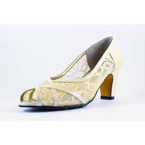 Zapato David Corsaro Piel C/malla Oro Modelo 90345