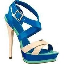 Hermosas Sandalias Zapatillas Andrea De Charol Azul / Hueso