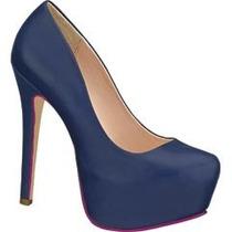 Hermosas Zapatillas Altas Zapatos Pumps Andrea De Piel Azul