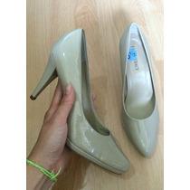 Zapatos Tacones Ellen Tracy Piel Fina Charol Beige!!