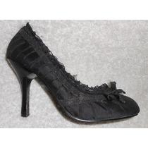 Wild Diva! Coquetos Zapatos Negros Olanes Y Moño Num 22.5mex