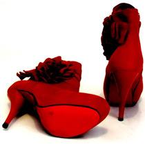 Botin Botas Rojo Calzado Dama Moda Actual Confort Elegancia