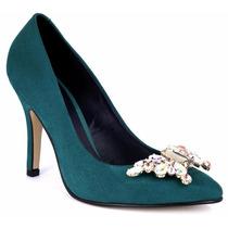 Elegantes Zapatillas Verdes Andrea Con Pedrería Tacón Bajito