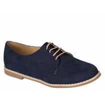 Zapatos Oxford Azul Y Camel Mujer
