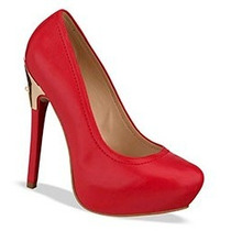 Zapatos Cerrados Zapatillas Pump Andrea Rojos Tacón Alto