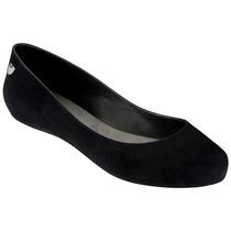 Mel Flocked Zapato Flat Dama Balerina Negro Mel By Melissa